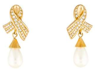 Christian Dior Faux Pearl & Crystal Drop Earrings