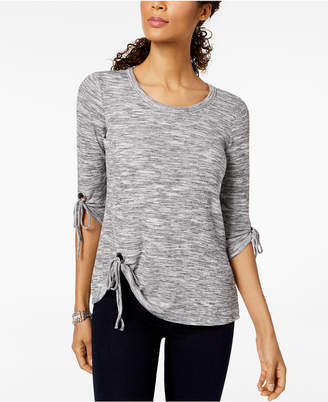 Style&Co. Style & Co Marled Asymmetrical-Hem Top