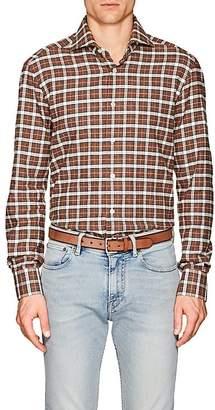Kiton Men's Plaid Cotton Flannel Shirt