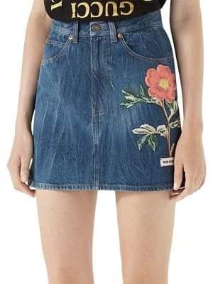 Gucci Floral-Embroidered Denim Mini Skirt