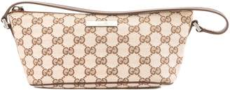 Gucci Brown Leather Pink GG Monogram Canvas Pochette Bag (Pre Owned)