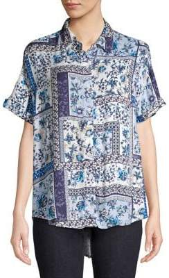 Lord & Taylor Francie Tapestry Roll-Sleeve Shirt