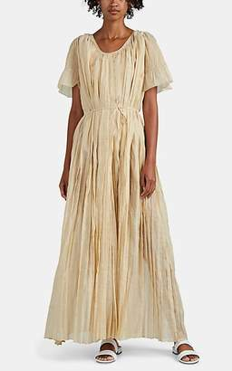 Thierry Colson Women's Sabina Pleated Cotton-Blend Gauze Maxi Dress - Gold