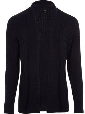 River Island Mens Big and Tall Navy cable knit cardigan