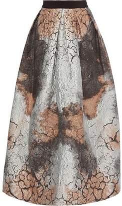 Alberta Ferretti Flared Metallic Jacquard Maxi Skirt
