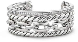David Yurman Wellesley Sterling Silver Four-Row Cuff Bracelet with Diamonds