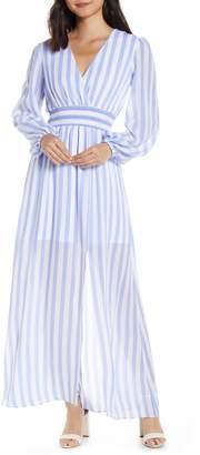 AVEC LES FILLES Stripe Long Sleeve Maxi Dress