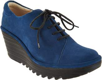 Fly London Leather Lace-up Wedge Shoes - Yumi