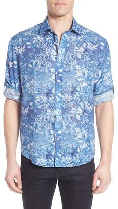 Bugatchi Shaped Fit Floral Linen Sport Shirt