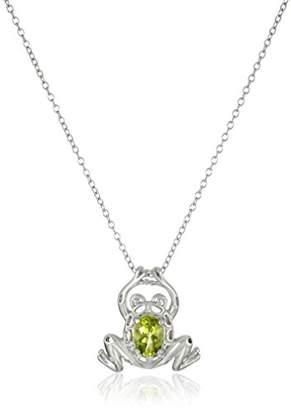 Sterling Genuine Peridot Frog Pendant Necklace