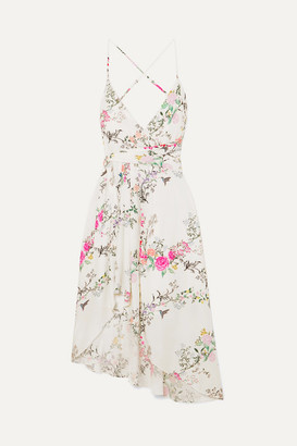 Equipment Tabitha Simmons Estille Asymmetric Floral-print Silk Crepe De Chine Dress - Off-white