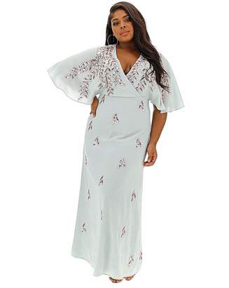 Maya Curve V neck Wrap sequin maxi dress