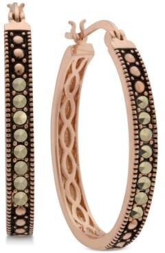 Macy's Marcasite Hoop Earrings in Rose Gold-Plate