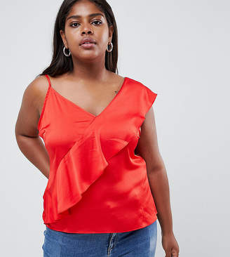 Glamorous Curve cami top with ruffle layer in satin