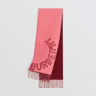 Burberry (バーバリー) - Burberry ステンシルロゴ ウールカシミア ジャカードスカーフ