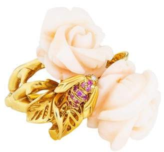 Christian Dior 18K Coral, Pink Sapphire & Diamond Rose Pré Catelan Ring
