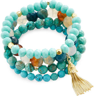 Good Charma Turquoise & Tassel Charm Set Of 4 Bracelets