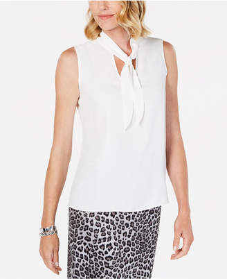 Kasper Tie-Neck Sleeveless Top