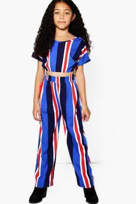 boohoo Girls Stripe Trouser & Crop Top Set