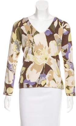 Loro Piana Silk & Cashmere-Blend Printed Sweater