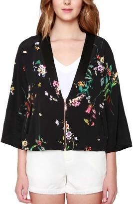 Women's Willow & Clay Floral Print Kimono Bomber Jacket $99 thestylecure.com
