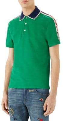 Gucci Cotton Logo Stripe Polo Shirt