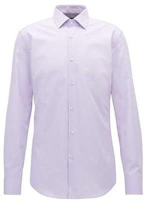 HUGO BOSS Slim-fit micro-pattern shirt in stretch cotton