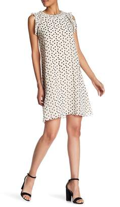 Max Studio Pleat Trim Dot Shift Dress