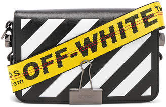 Off-White Off White Diagonal Mini Flap Bag in Black & White | FWRD