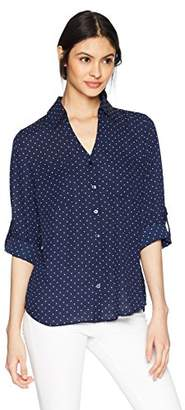 Amy Byer A. Byer Junior's Young Women's Teen Button Down Shirt with Roll-Tab Sleeves