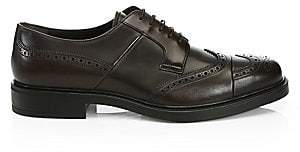 Prada Men's Perforated Lace-Up Leather Brogues