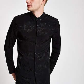 River Island Black tiger print button-down collar shirt