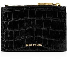 Whistles Shiny Croc-Embossed Leather Coin Purse