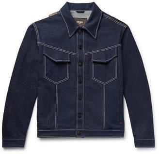 Fendi Logo-Appliquéd Stretch-Denim Jacket