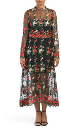 Victorian Neck Floral Midi Dress
