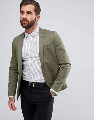 Asos Design Skinny Blazer In Khaki Cotton