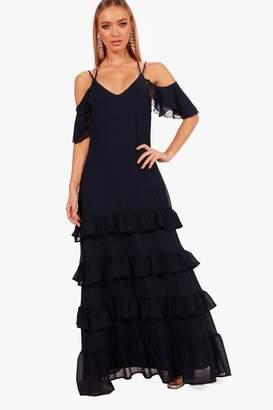 boohoo Boutique Leah Ruffle Hem Maxi Dress
