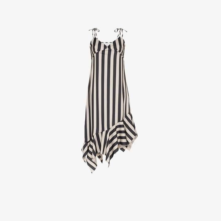 Marques'almeida asymmetric hem striped midi dress
