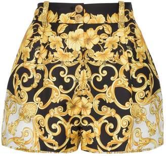 Versace high waisted baroque print silk shorts