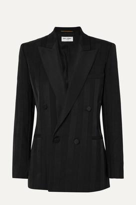 Saint Laurent Double-breasted Grosgrain-trimmed Wool Blazer - Black