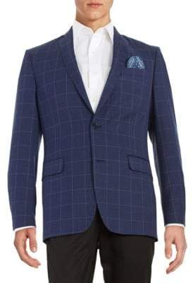 Tallia Windowpane Check Wool Suit Jacket