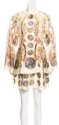Dolce & Gabbana Cameo Coin & Floral Print Dress