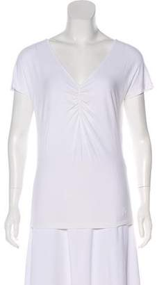 Salvatore Ferragamo Ruched V-Neck T-Shirt