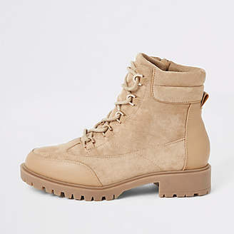 River Island Light beige chunky lace-up hiking boots