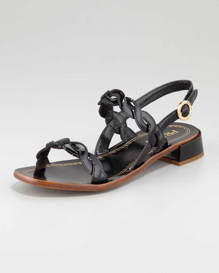 Prada Twisted Patent Leather Sandal, Black