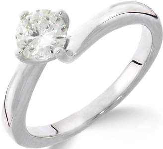 Love GOLD 9ct White Gold 1ct Diamond Solitaire Twisted Ring