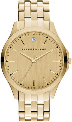 Armani Exchange Men's Diamond Accent Gold-Tone Stainless Steel Bracelet Watch 46mm AX2167