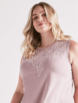 Lucky Brand EMBROIDERED LEAF TANK