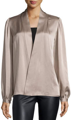 Michael Kors Long-Sleeve Wrap Blouse, Bison