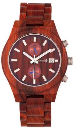 Earth Wood Castillo Wood Bracelet Watch W/Date Red 45Mm